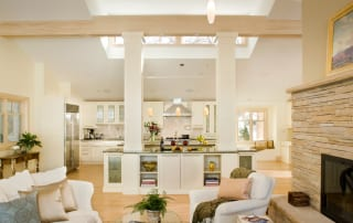 Open and spacious kitchen remodel with traditional design and high ceilings
