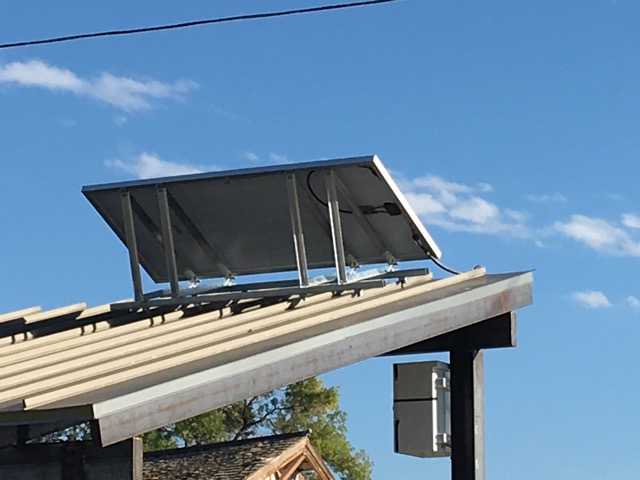 Solar panels on skate park that Cottonwood Custom Builders donated to the Town of Berthoud.